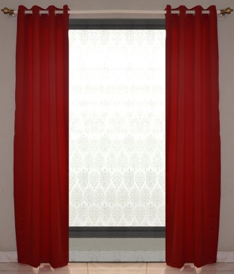 Nostaljia Polyester Red Solid Ring Rod Window Curtain