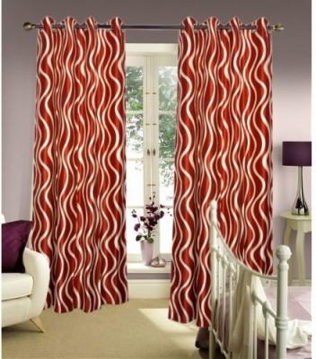 Handloomhub Polyester Rust Self Design Eyelet Door Curtain