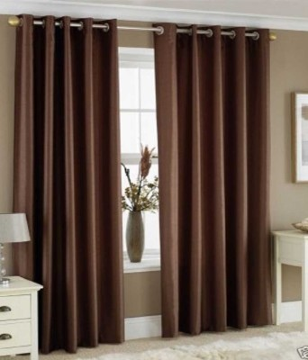 Ech Oly Polyester Brown Plain Eyelet Door Curtain