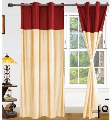 Ech Oly Polyester Maroon, Cream Plain Eyelet Door Curtain