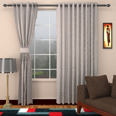 SEVEN STARS Cotton Grey/Red Printed Paisley Eyelet Window Curtain