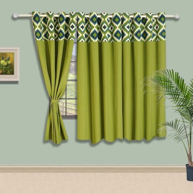 Swayam Cotton Green Floral Tab Top Window Curtain