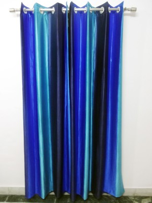 K Gallery Polyester Blue Striped Eyelet Long Door Curtain