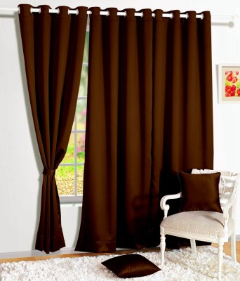 Story @ Home Silk Brown Solid Eyelet Window Curtain