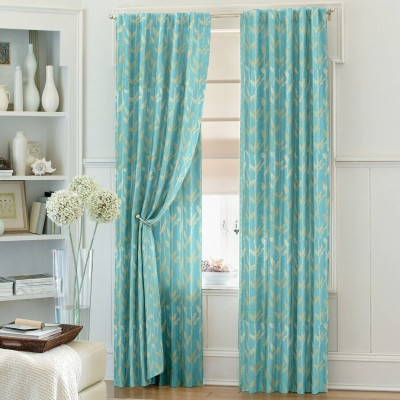 Dreamscape Blends Blue Floral Eyelet Door Curtain