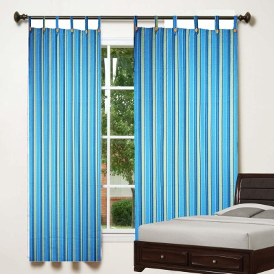 TG Shoppers Cotton Blue, Yellow Striped Curtain Window Curtain