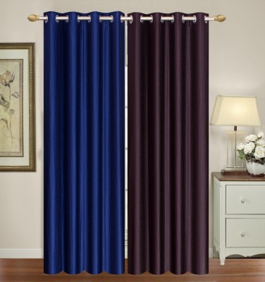 Furnishing Zone Polyester Brown, Blue Plain Eyelet Long Door Curtain