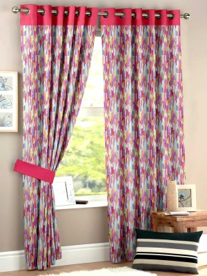 HOMEC Polyester Multicolor Geometric Eyelet Window & Door Curtain