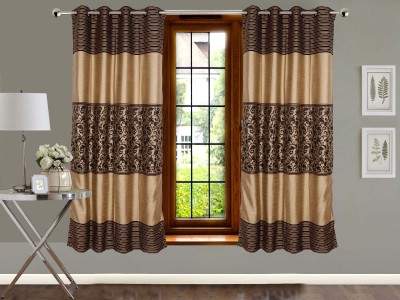 Vivace Homes Jacquard, Polyester Brown Abstract Eyelet Window Curtain