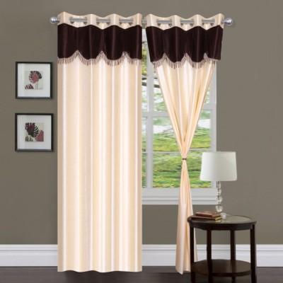 Handloom Hut Polyester Cream Solid Eyelet Long Door Curtain