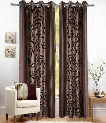 Fresh From Loom Polyester Brown Floral Curtain Long Door Curtain