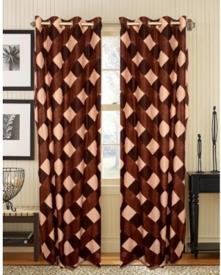 Home And Craft Polyester Brown Printed Eyelet Door Curtain