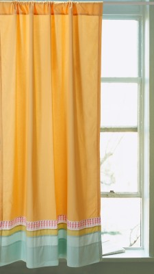 Pink Guppy Cotton Yellow Solid Eyelet Window Curtain