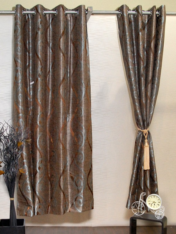 Puma Polyester Brown, Gold Striped Eyelet Door Curtain 42070