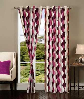 Optimistic Home Furnishing Polyester Pink Abstract Tab Top Door Curtain