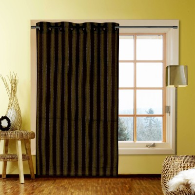 Kings Polycotton Black Striped Eyelet Window Curtain