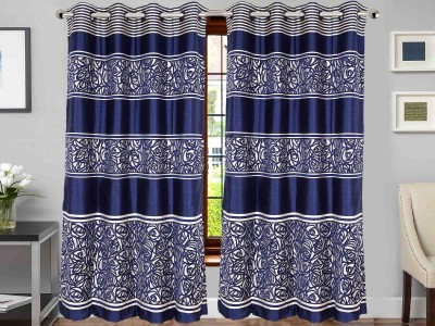 Vivace Homes Jacquard, Polyester Navy Blue Floral Eyelet Door Curtain