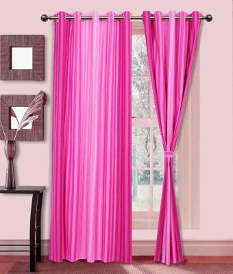 Elan Cotton Pink Striped Eyelet Long Door Curtain