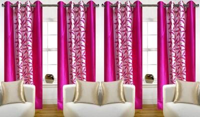 Thiwas Polyester Pink Printed Eyelet Door Curtain