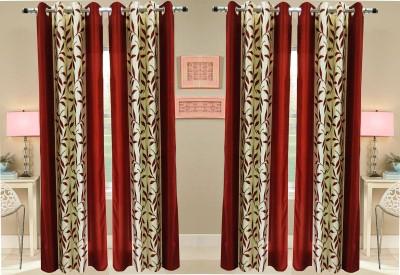Pendu Art Polyester Maroon Floral Printed Eyelet Long Door Curtain