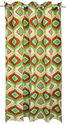Adt Saral Cotton Multicolor Printed Ring Rod Long Door Curtain