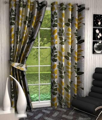 Kanha Polyester Green Floral Eyelet Door Curtain