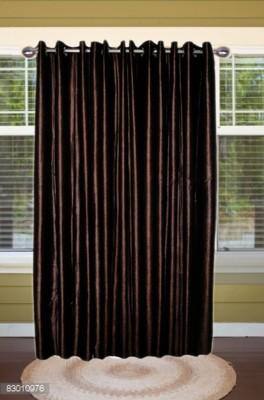 shoppeholics Polyester Dark Brown Plain Curtain Door Curtain
