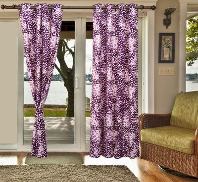 sachidanand solutions Polyester Purple Geometric Eyelet Window & Door Curtain