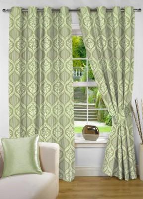 NuHome Decor Polyester Green Motif Eyelet Door Curtain