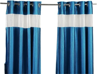 Store17 Polyester Blue Self Design Ring Rod Window Curtain