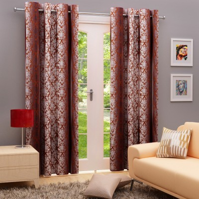 Angrezi Home Polyester Brown Motif Eyelet Window & Door Curtain