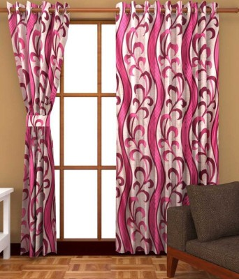 Divine Polyester Pink, White Floral Eyelet Long Door Curtain