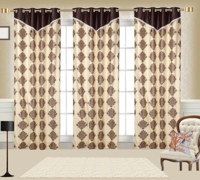 Comfort Zone Polycotton Candy Brown And Golden Damask Eyelet Door Curtain