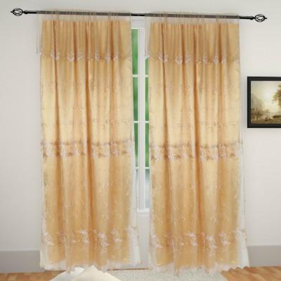 Muren Satin Beige Self Design Eyelet Door Curtain