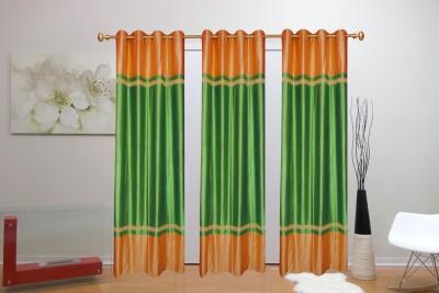 Batham Sales Blends Green Plain Eyelet Door Curtain