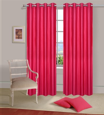 Excel Bazaar Polycotton Dark-Pink Plain Eyelet Door Curtain