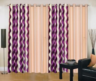 New Trends Polyester Purple, Beige Printed Eyelet Door Curtain