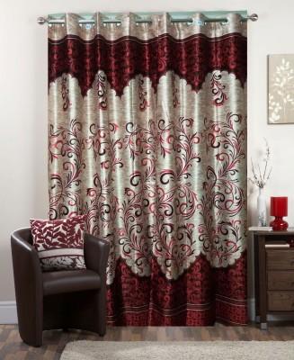 I-LivSmart Polyester Maroon Floral Curtain Window & Door Curtain