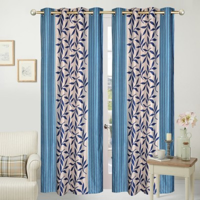 Home Fashion Polyester Blue Floral Eyelet Door Curtain