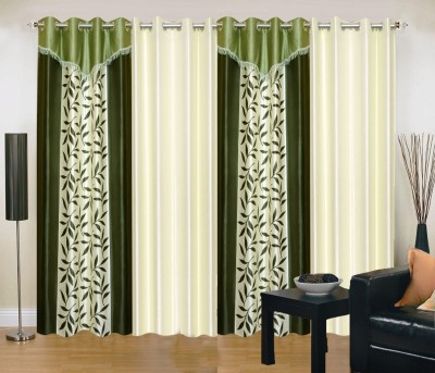 New Trends Polyester Green, Beige Printed Eyelet Window Curtain