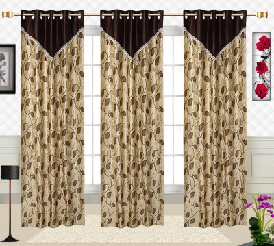 Comfort Zone Polyester Candy Brown And Golden Abstract Eyelet Long Door Curtain