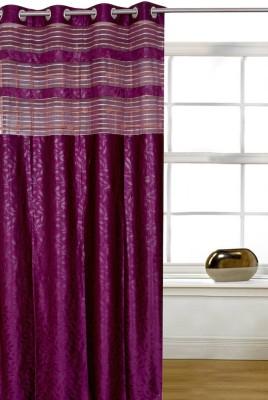 Shopcrats Polyester Lavender Floral Rod pocket Window & Door Curtain