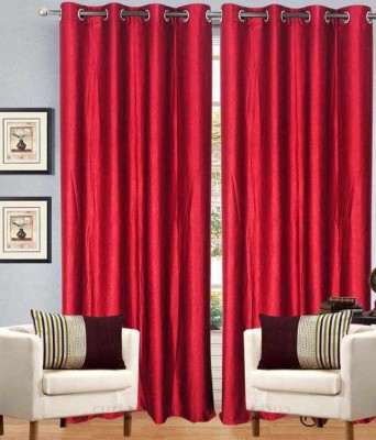 SLV Home Decor Polyester Dark Pink Plain Eyelet Window Curtain