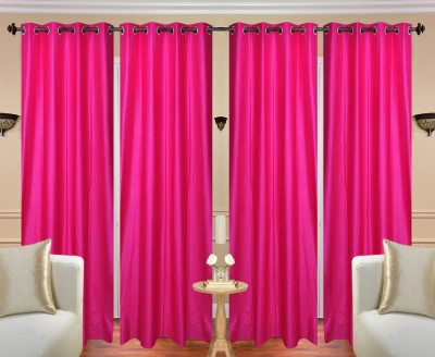 Fresh From Loom Polyester Pink Plain Curtain Long Door Curtain