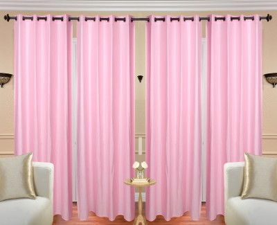 Handloom Hut Polyester Plain Crush Light Pink Solid Eyelet Window Curtain