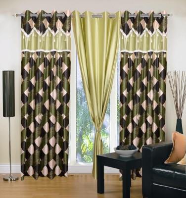 Sai Arpan Polyester Green Printed Eyelet Door Curtain