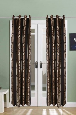 The Handloom Store Polycotton Brown Abstract Eyelet Long Door Curtain