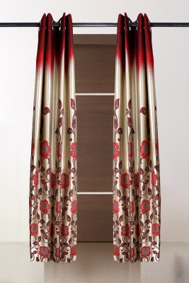 the handloom store Polycotton Red, Gold Floral Eyelet Door Curtain