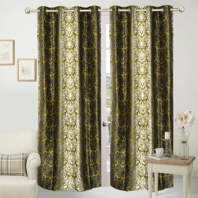 Home Fashion Polyester Green Printed Eyelet Door Curtain