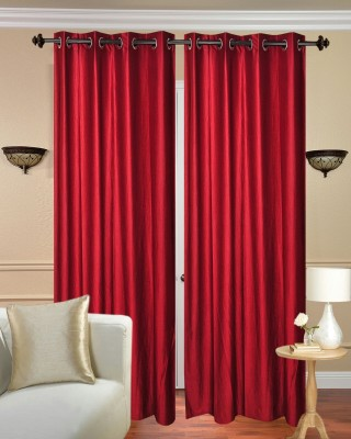 Shiv Fabs Polyester Red Plain Ring Rod Door Curtain